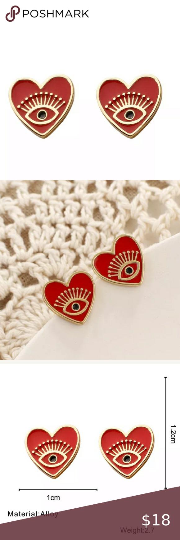 Photo of ❤️Heart & Eye Stud Earrings Super cute heart stud earrings featuring gold ry…
