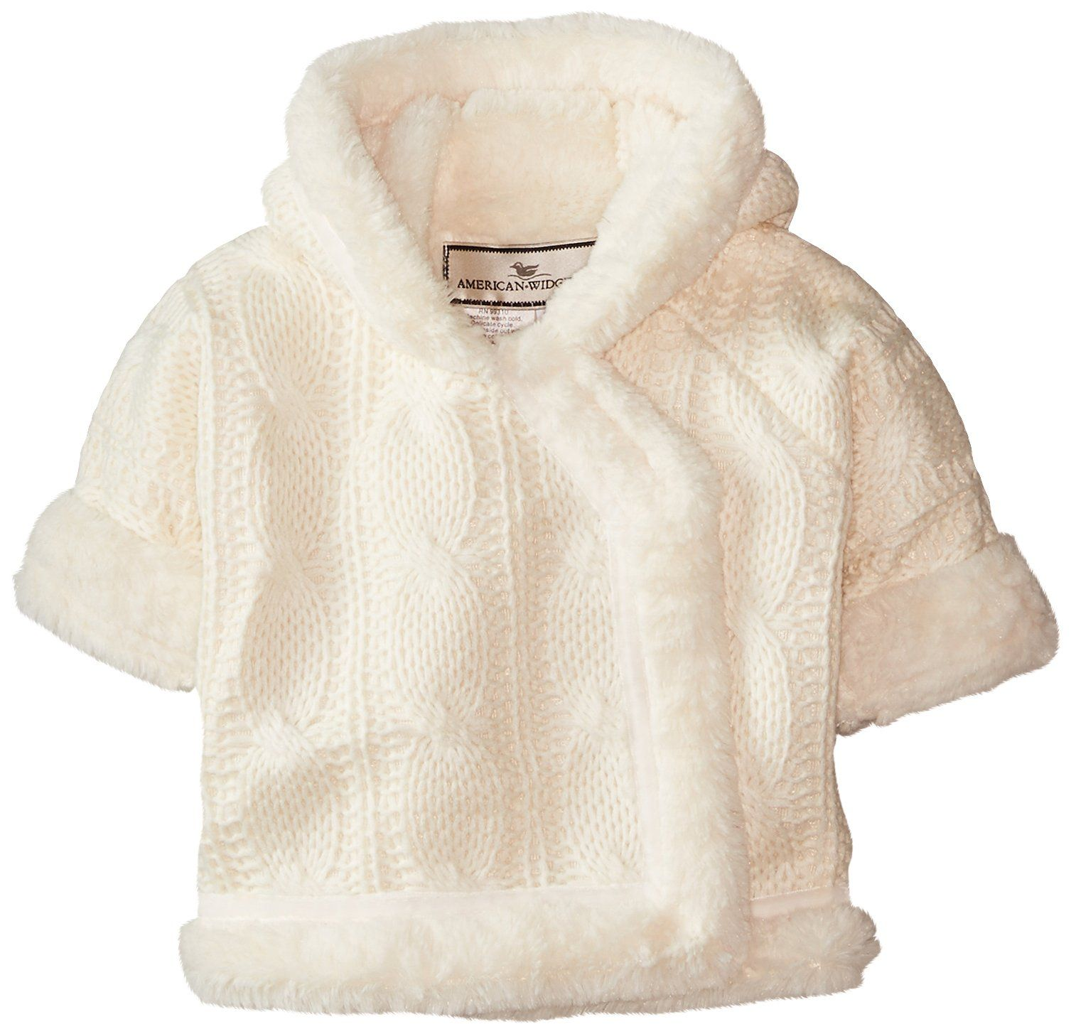 Widgeon Baby Girls' Hooded Faux Furry Sweater Jacket, Cable Knit Ivory, 3 Months. Bonded sweater and super soft faux-fur. Easy velcro close. Machine washable. A true wow piece.
