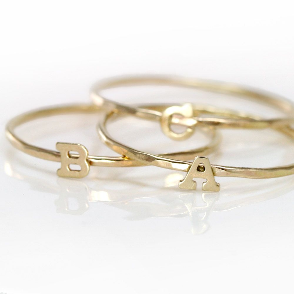 initial ring gold 14k letter ring alphabet stacking ring With letter rings jewelry