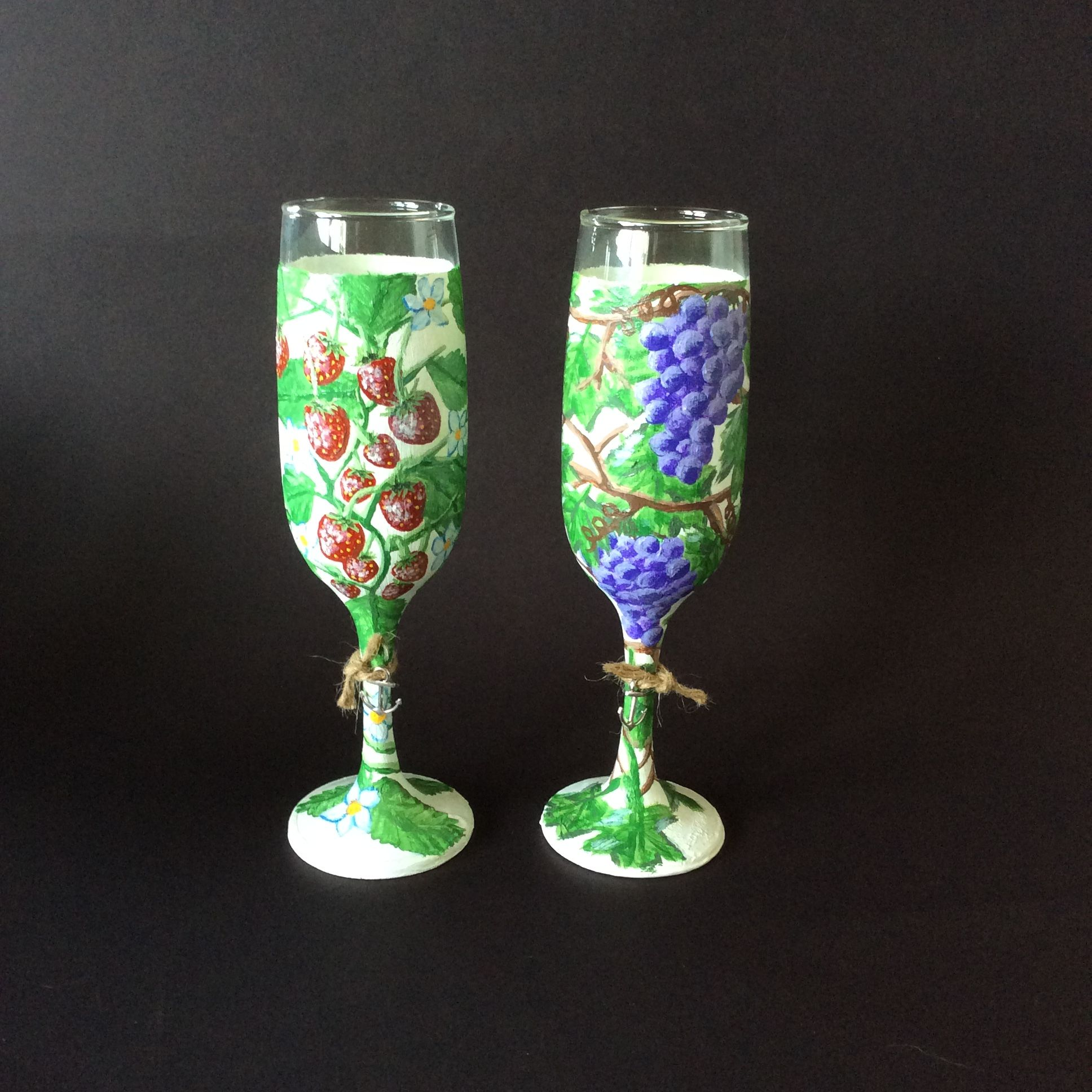 d79d15264a9 A set of two hand painted still life champagne flutes! Every little  strawberry and grape had its tiny details painted by me a little at a time  over more ...