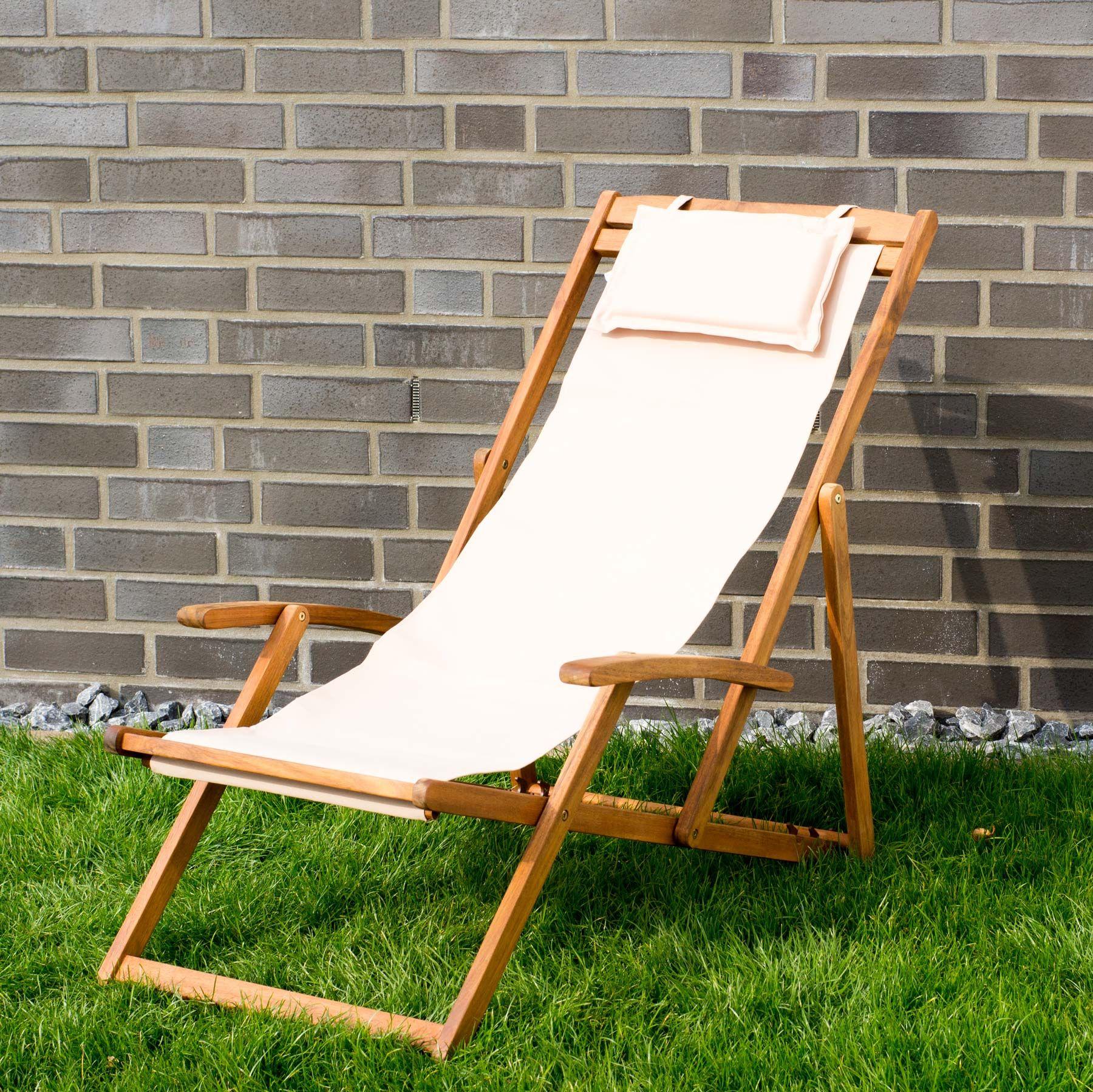 Details Zu Liegestuhl Relaxliege Garten Sonnenliege Strandliege Holz Stoff  4 Versch. Farben