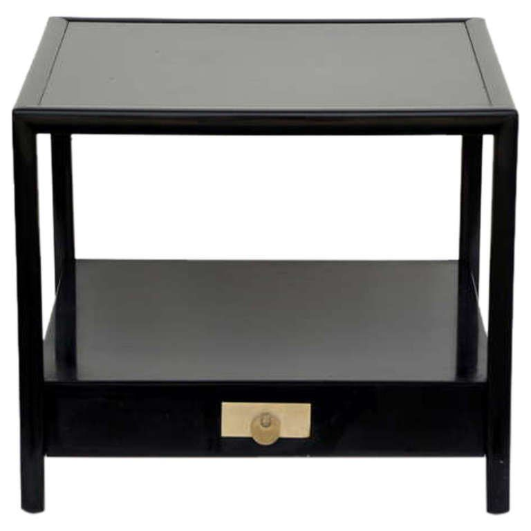 Chic Black Lacquer End / Side Table By Michael Taylor For Baker