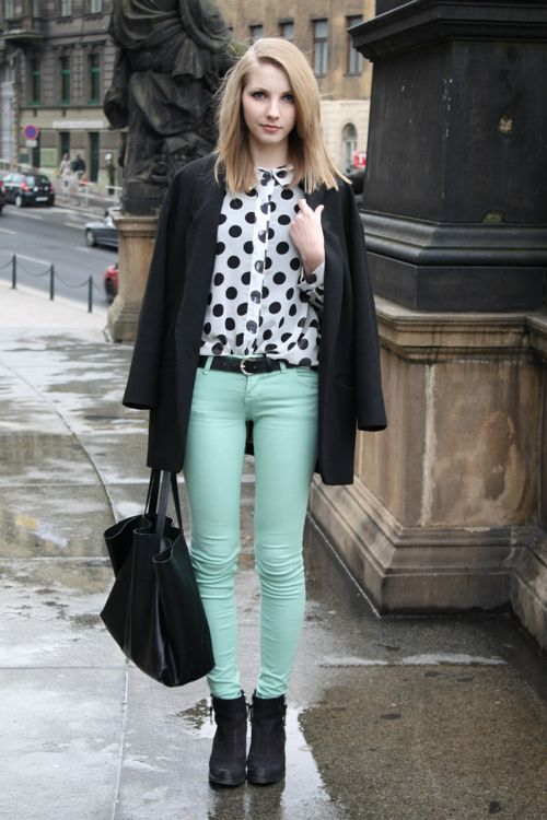 #mintjeans  super cute!! love polka dots w/ color<3