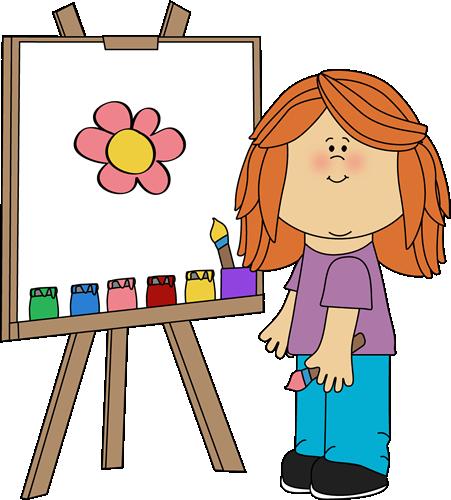 Girl Painting on Easel Clip Art - Girl Painting on Easel ...