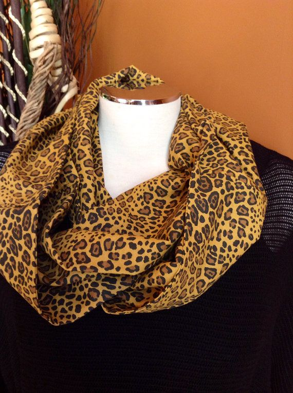 * Leopard Print Infinity Scarf    Light weight infinity scarf that can be worn all seasons. This handmade, practical scarf makes for a great