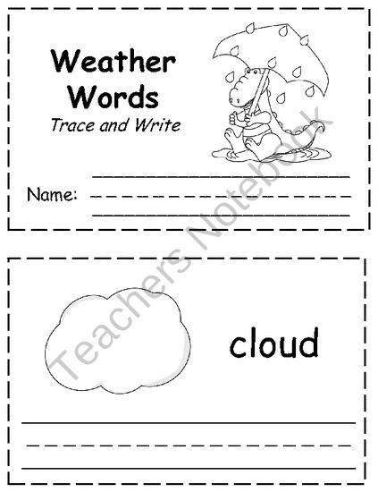 Weather Words Trace & Write from Klever Kiddos on