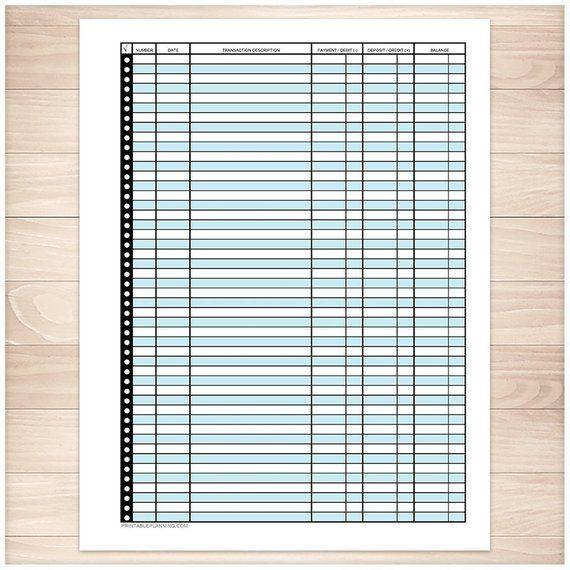 printable financial transaction register blue transaction register