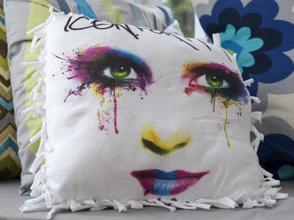 DIY Network has instructions on how to make new throw pillows without a sewing machine or a lot of money.