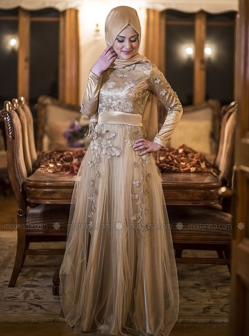 Salkım Evening Dress - Gold - Gamze Polat Modanisa | حجاب | Pinterest