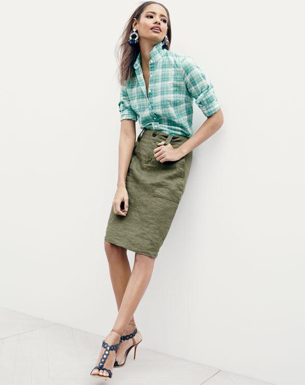 83f6961efa3 JUN  15 Style Guide  J.Crew women s boy shirt in green crinkle plaid ...
