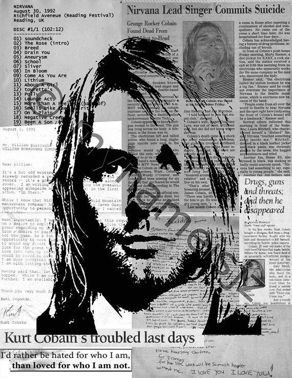 Kurt Cobain Stencil Art Graffiti Style Art Print By Mynameisjz