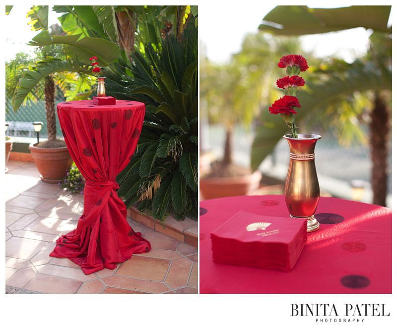Red #Cocktail Tables, Chinese Dot Table Linen By Rentals Unlimited,  Destination Wedding Photography