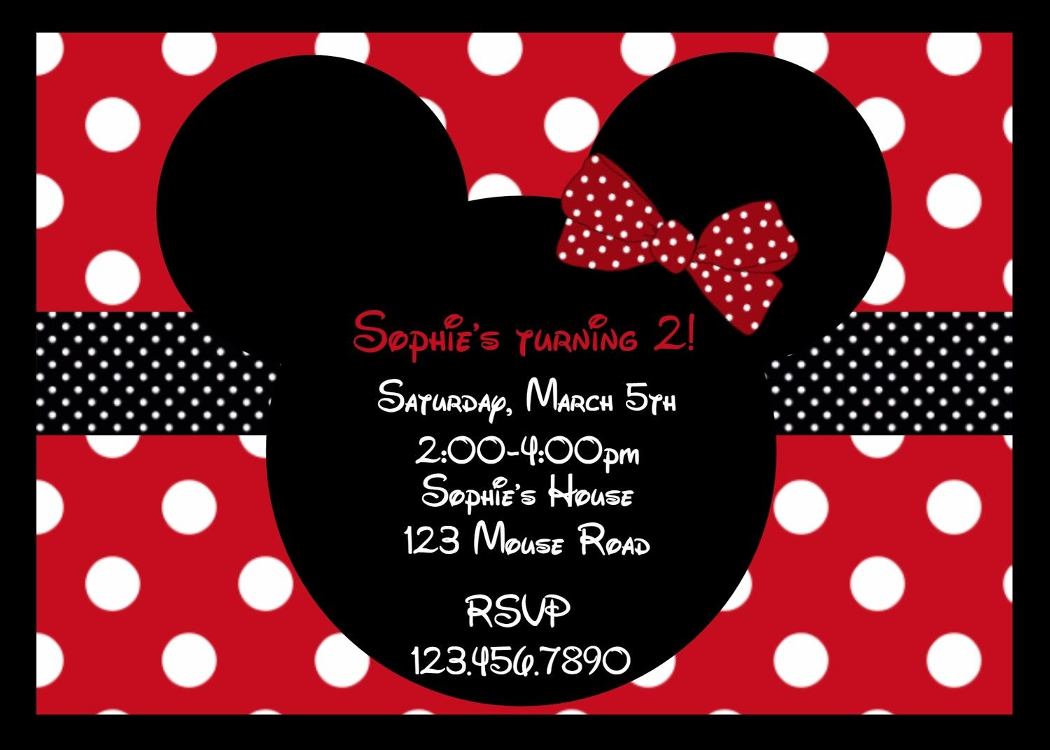 Mouse Ears Red Birthday Invitation | Minnie mouse baby shower, Mouse ...