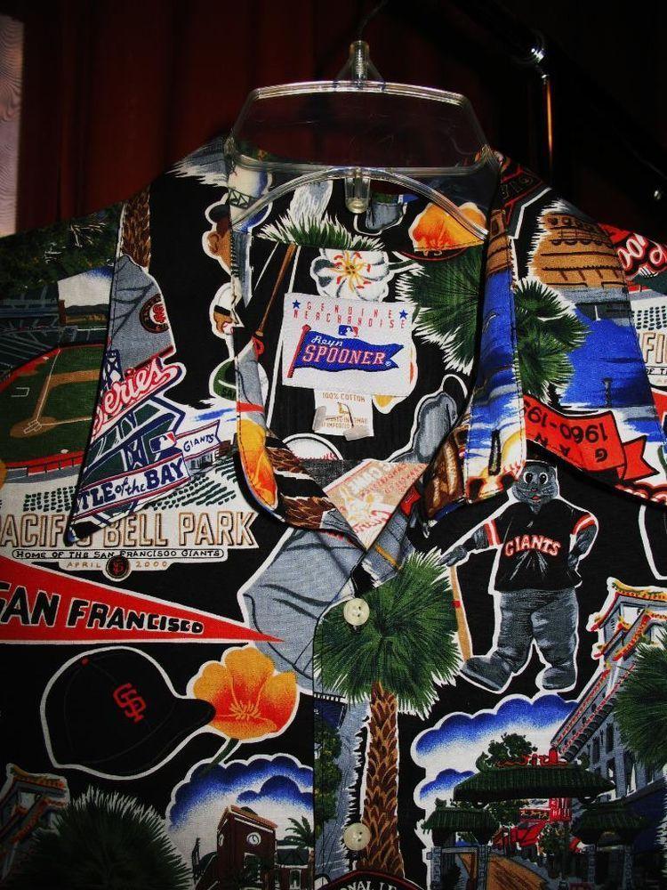 REYN SPOONER VTG Hawaiian Shirt SF GIANTS Size L!  100% COTTON !MADE IN USA #sfgiants #ReynSpooner #Hawaiian
