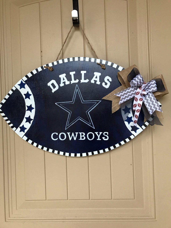 Dallas Cowboys Wood Football Door Hanger Sign Man Cave Wood Etsy In 2020 Dallas Cowboys Decor Dallas Cowboys Wreath Dallas Cowboys Crafts