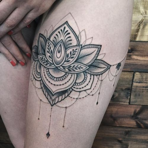 Lotus Sashatattooing Linework Dotwork Tattoo Love At