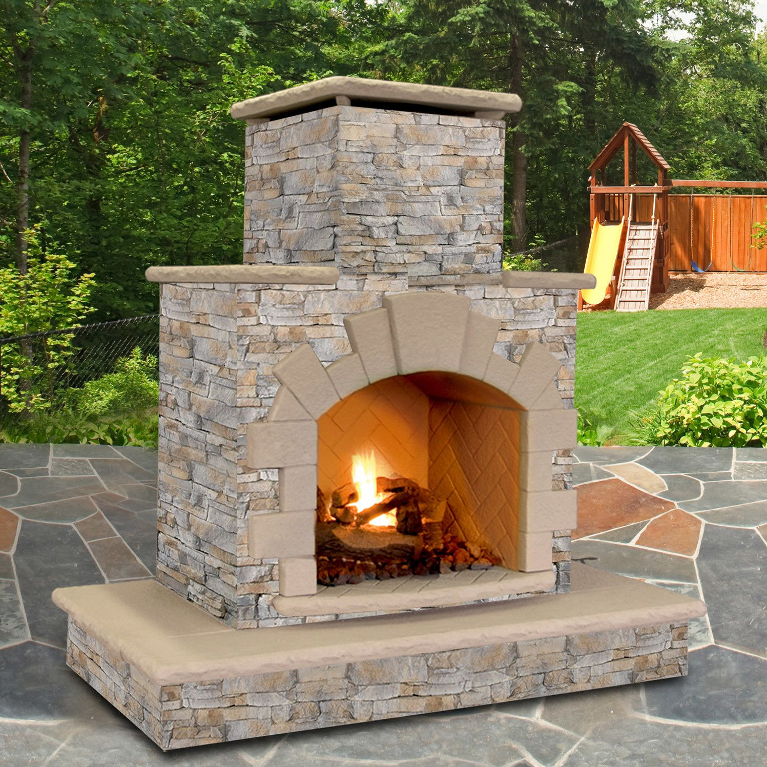 Stone Veneer Propane Natural Gas Outdoor Fireplace Natural Gas