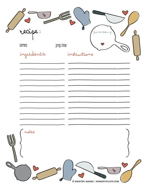 Free Printable Recipe Page Template for DIY cookbook | Crafts ...