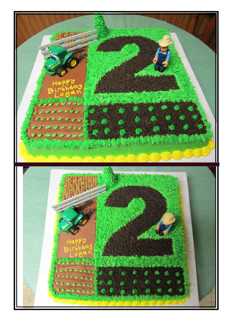2nd Birthday John Deere Tractor Cake all buttercream Cake Ideas