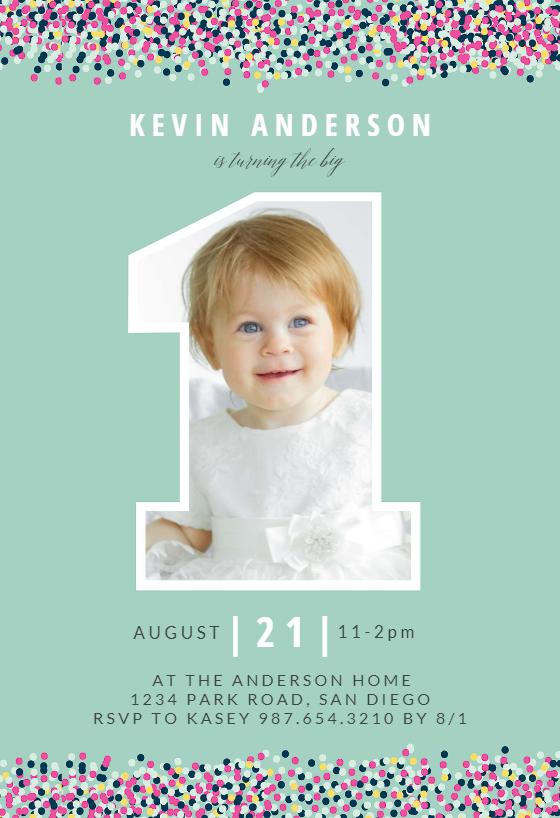 big one photo birthday invitation