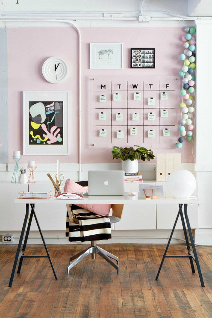 Cozy Female Office With Pink Black And Gold Accents Home Office Office Decor Decor Home Office Design Home Office Decor Pink Office Decor Interior