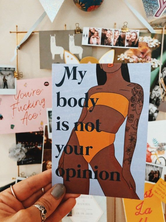 My body is not your opinion - illustrated postcard - feminist art