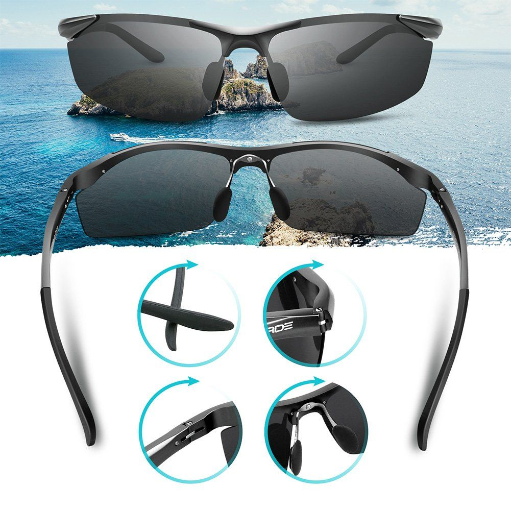 eb94ceef3e PAERDE Mens Sports Style Polarized Sunglasses for Men Driving Cycling  Fishing Golf Running Unbreakable Metal Frame