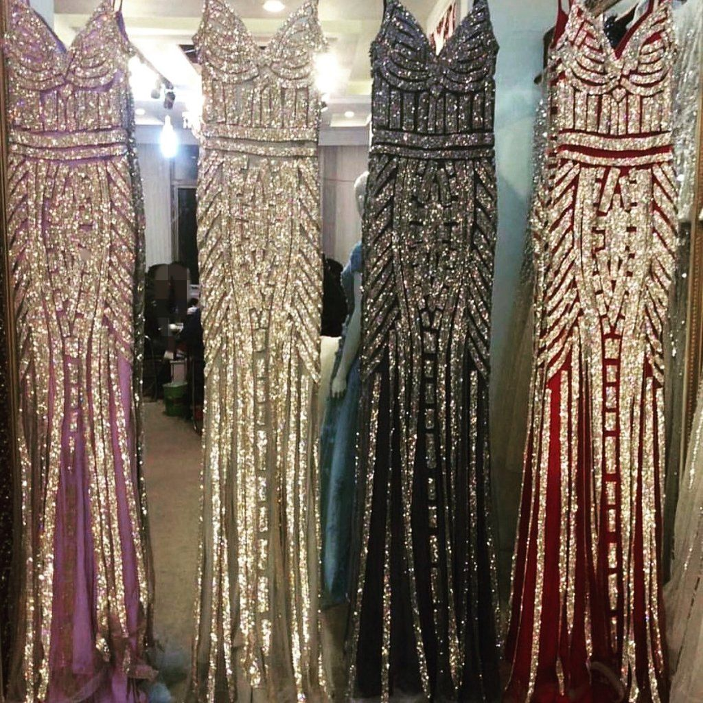 Unique golden stripe beading v neck long mermaid prom evening
