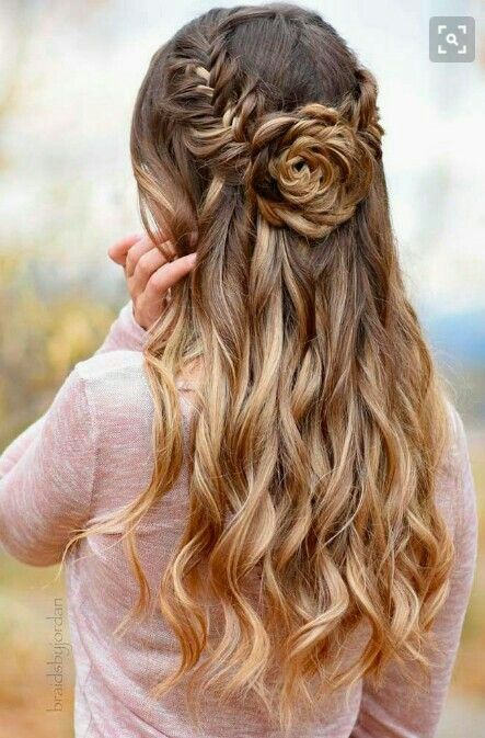 Updo Rose Hairstyle Prom Hairstyles For Long Hair Long Hair Styles Wedding Hair Down