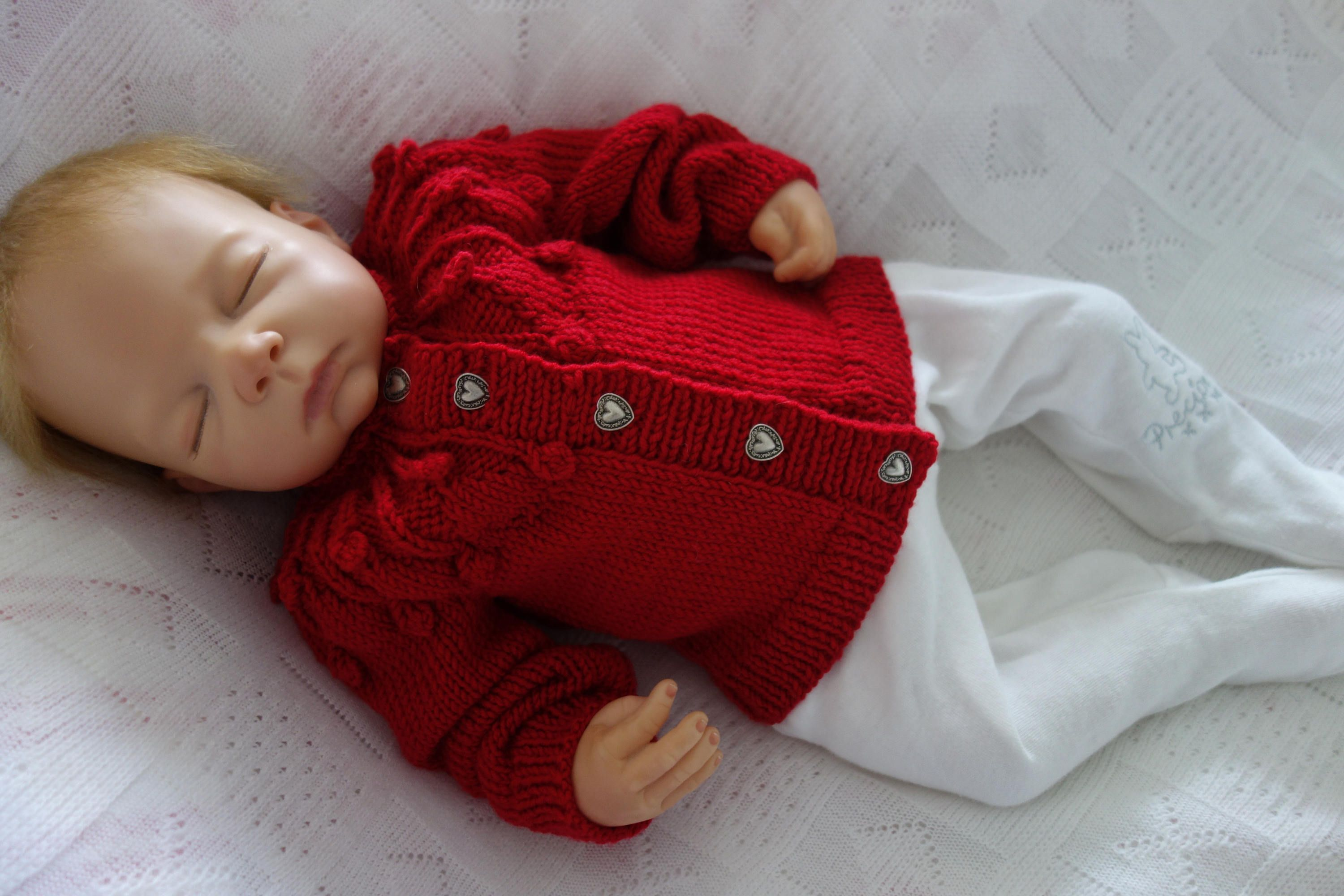 acb313ed3 Hand knitted in Pure 100% Merino wool baby cardigan sweater in red ...