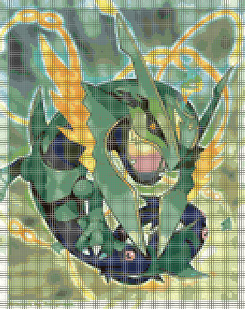 Pokemon Mega Rayquaza 30 Colors Cross Stitch Pattern