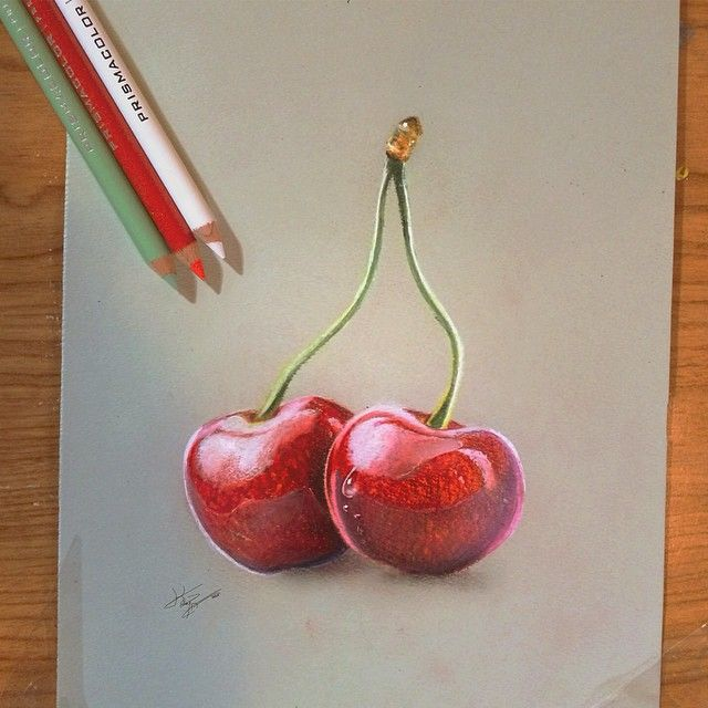 I love cherries trompe l 39 oeuil tableau tude tromperie - Cerise dessin ...