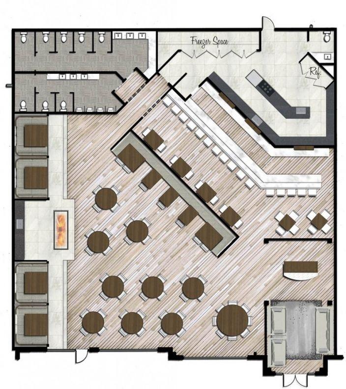 Innenarchitektur skizze cafe  restaurant rendered plan style by design | Bar Ideas | Pinterest ...
