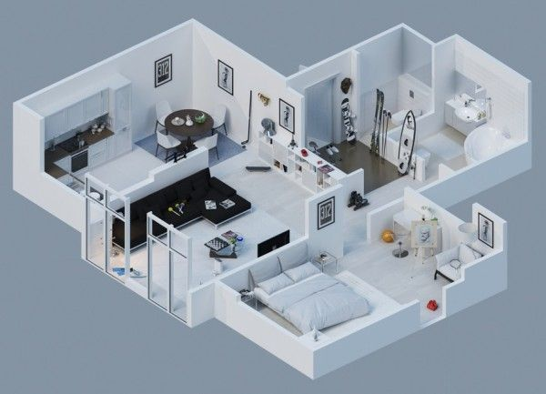Apartment Designs Shown With Rendered 3d Floor Plans Inspiration