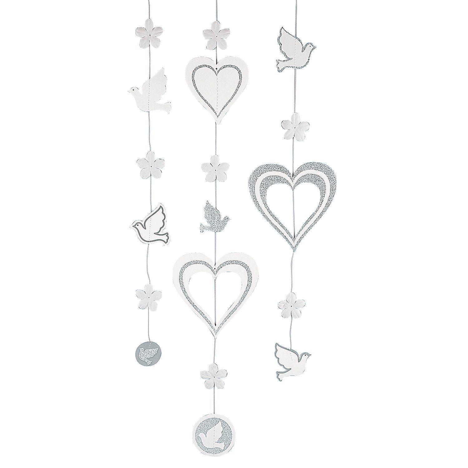Hanging Wedding Glitter Decorations - $4.49 per set. 5 pcs per set. 3' length. Cardboard & polyester. OrientalTrading.com