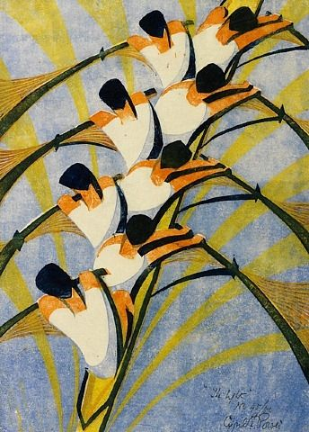 Cyril Power, The Eight, ca. 1930, Color linocut