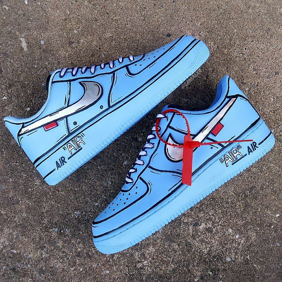 Comercial cuerno Se convierte en  Nike Air force 1 X off-white Cartoon edition | Nike air shoes, Jordan shoes  girls, Cartoon shoes