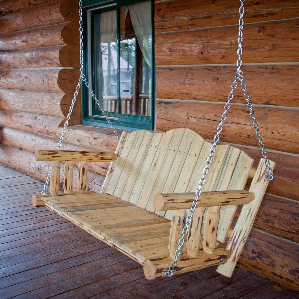 Amish Montana Log Porch Swing Rustic Porch Swing Porch Swing Hanging Porch Swing