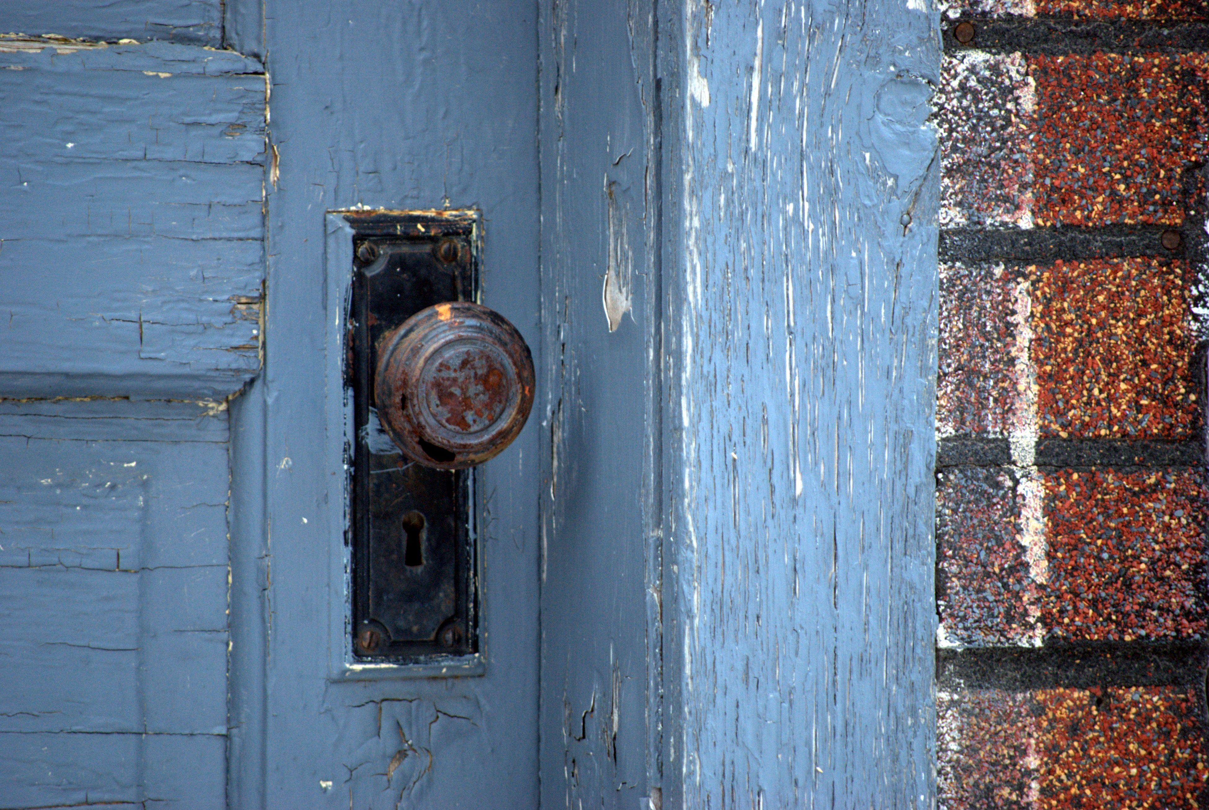 weathered door knob.