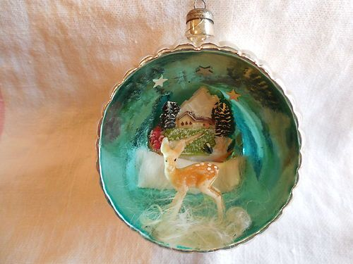 Vintage Indent Diorama Scene Mercury Glass Christmas Ornament