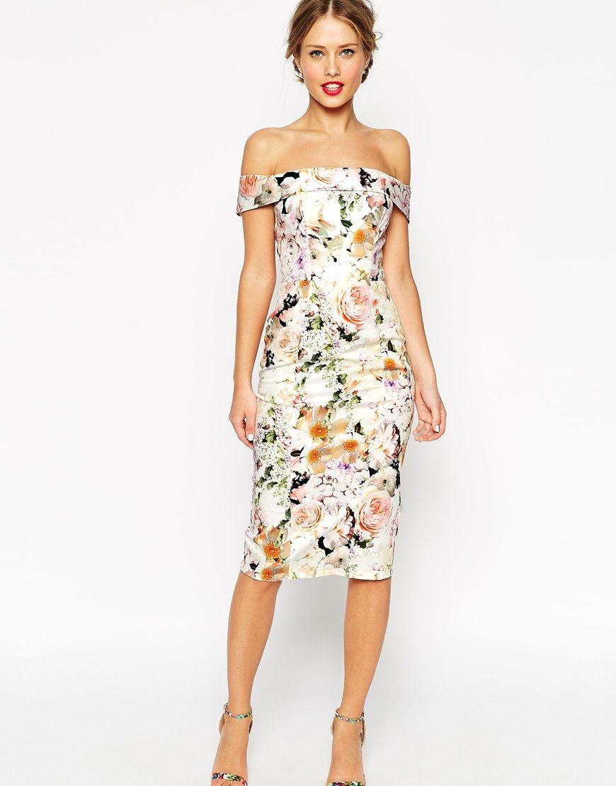 pencil wedding dresses ASOS WEDDING Bardot Floral Off Shoulder Pencil Dress