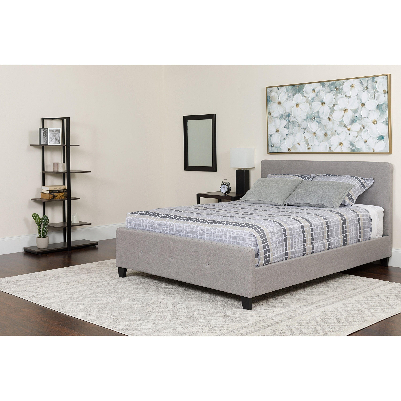 Best Elmira Full Size Light Grey Fabric Platform Bed With 400 x 300