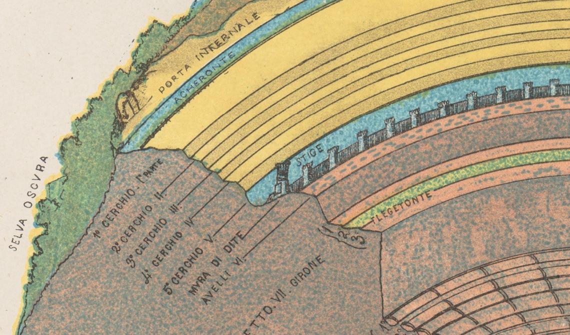 Grabado de Michelangeo Caetani que muestra la sección transversal del Infierno.
