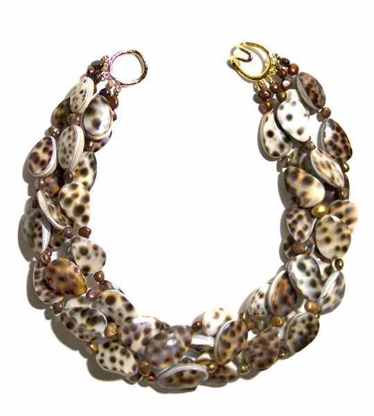 Helga Wagner Necklace Cowry Shells with Gold Fresh Water Pearls and tiffany clasp