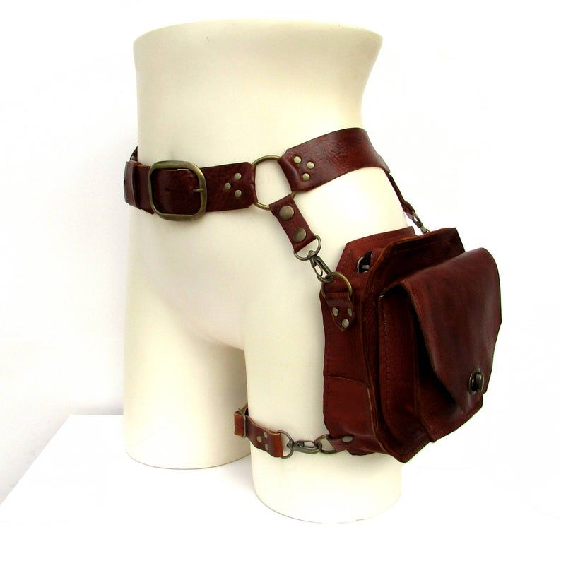 Photo of Rust Brown and Antique Brass Large Hip Holster Bag – ENTERPRISE