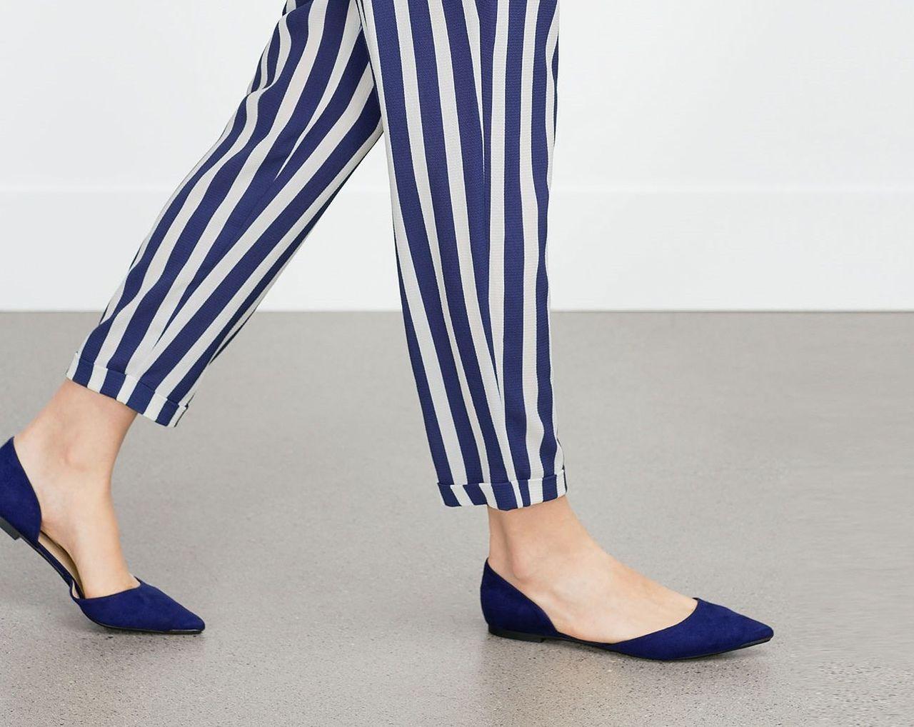 Zara Blue D'orsay Flat Shoes - Beautiful Wardrobe