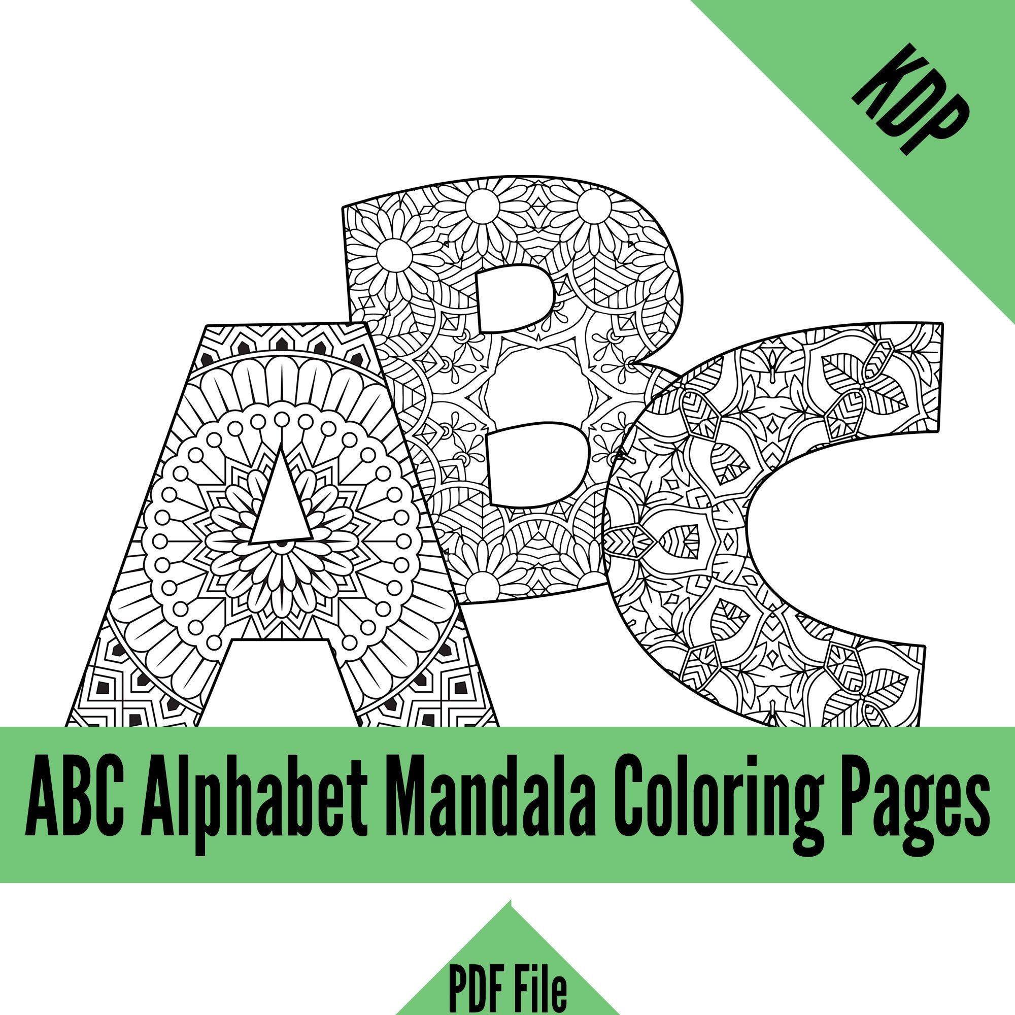 Kdp Alphabet Mandalas Coloring Pages Sheets Pdf Abc Letters Etsy Coloring Pages Letter A Coloring Pages Coloring Books