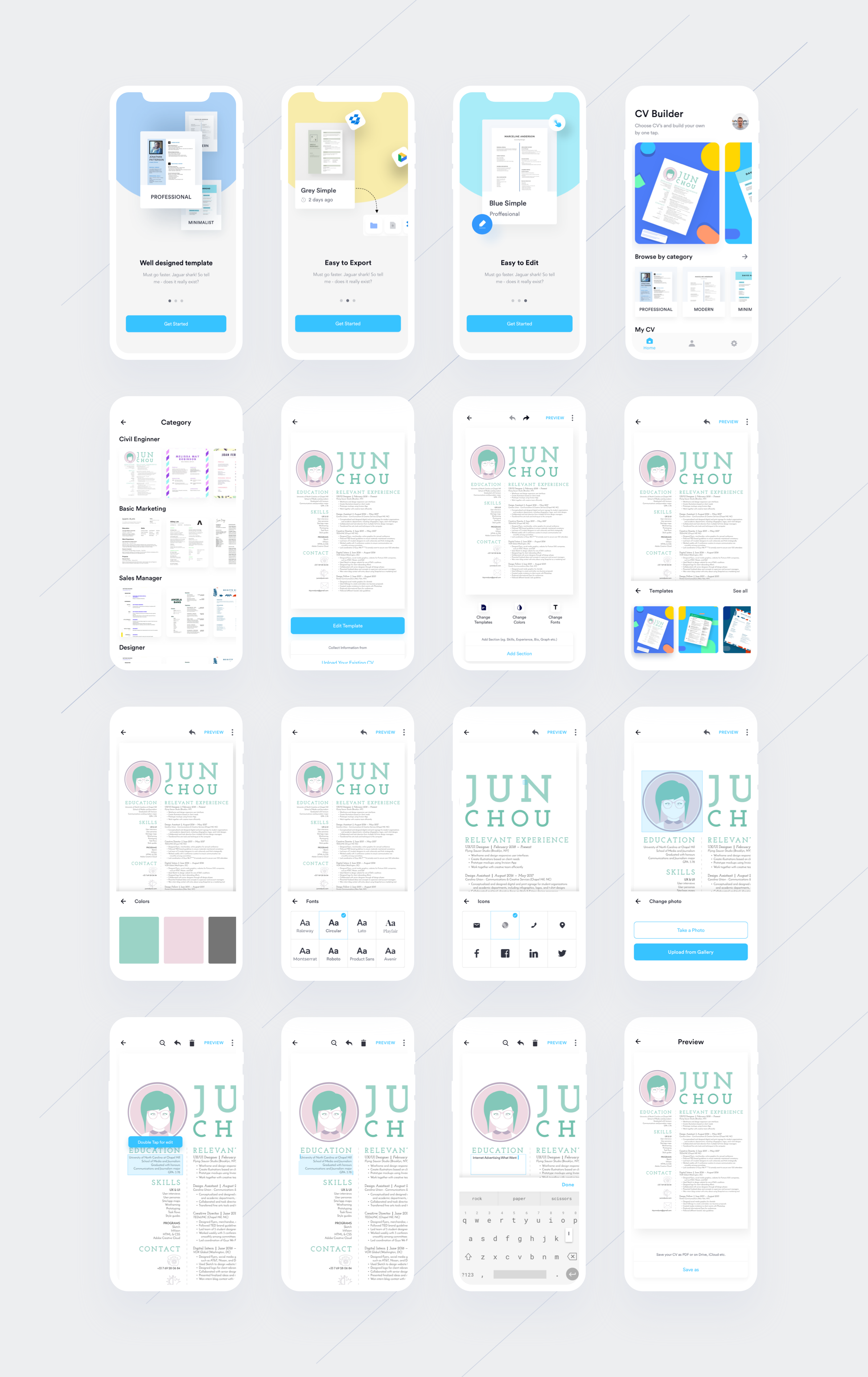 EZY — Resume/CV Builder App Case Study Web app design, App