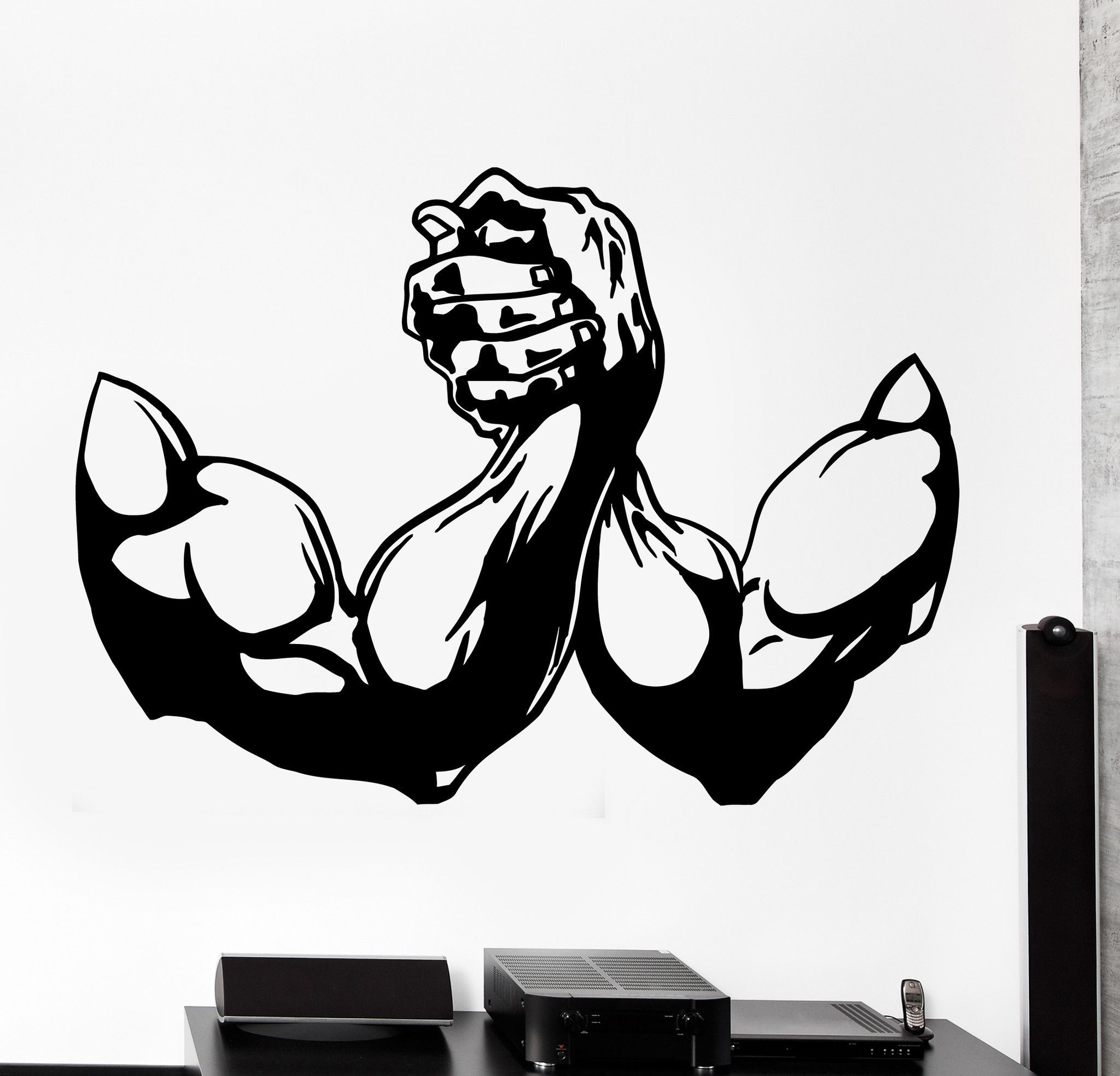 wall vinyl decal arm wrestling sport bodybuilding home on wall logo decal id=57688