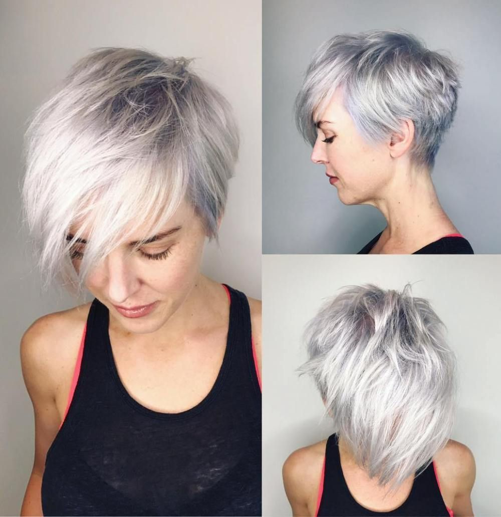 Asymmetrical silver pixie with root fade shorthair short
